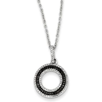 Black & White Diamond 15mm Open Circle Necklace in Sterling Silver