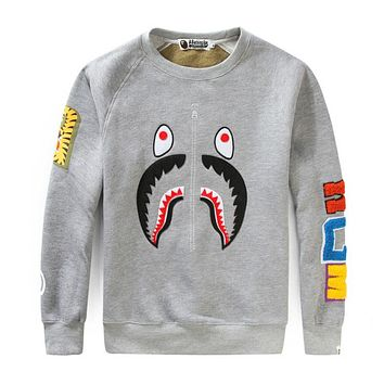 BAPE 2018 new tide brand headband round neck loose camouflage shark sweater F-A-KSFZ Grey