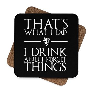 Thats What I Do I Drink and I Forget Things Square Hardboard Coaster Set - 4pcs