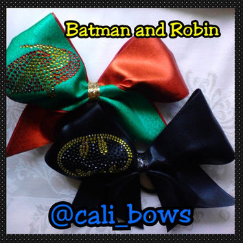 rhinestone batman and robin cheer Bow as seen on Instagram