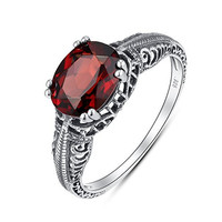 Antique Finished Sterling Silver Oval Genuine Garnet Filigree Ring (2 CT.T.W)