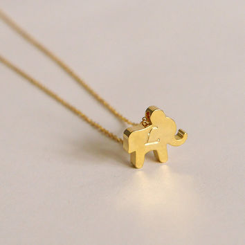 Gold Elephant Necklace - Personalized Elephant Necklace Dainty Gold Filled Initial Necklace Cursive Initial Gift Ideas for Christmas Lovely