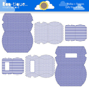 Indigo Printable Gift Boxes for instant Download. PDF.  Polka Dots and Stripes Favor Box. Pillow Box. Dark Blue/Purple