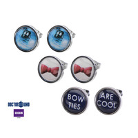 """Doctor Who Tardis, Bow and """"Bow Ties Are Cool"""" Steel Stud Earrings Set"""