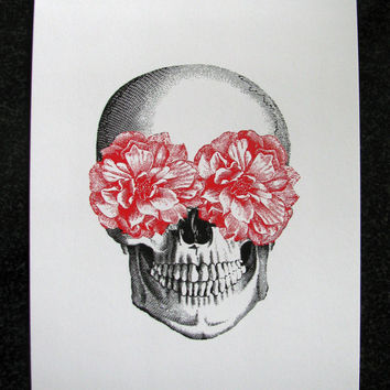 Floral Skull Roses Mixed Media Illustration Art Print for Home Wall Decor