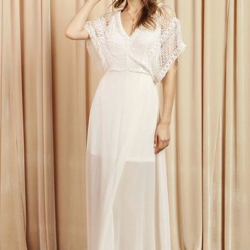 Delicate Lace Top Maxi Dress
