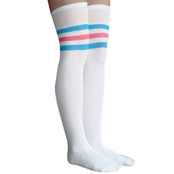 White/Electric Blue/Neon Pink Thigh Highs