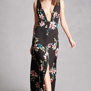 Plunging Floral Maxi Dress