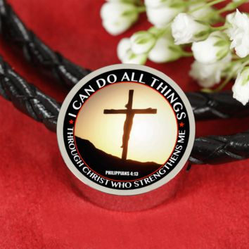 I Can Do All Things - Genuine Leather Christian Bracelet