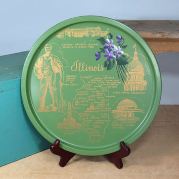 Illinois Serving Tray Round Souvenir Map * Abraham Lincoln * Green Hand Screened Gold * Hand Painted Violets * Vintage Circa 1970s