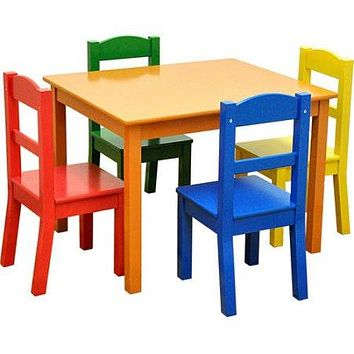 American Kids 5 Piece Wood Table and Chair Set, Multiple Colors