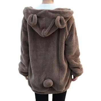 DCCKHQ6 Women Hoodies Zipper Girl Winter Loose Fluffy Bear Ear Hoodie Hooded Jacket Warm Outerwear Coat Cute Sweatshirt Hoody