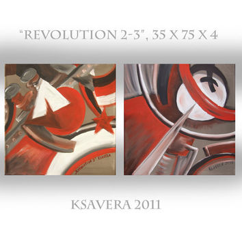 propaganda avante garde Russian Cubist Original Painting Cubism soviet Art Nouveau Revolution KSAVERA 14x30x1,6 Paintings on canvas Abstract