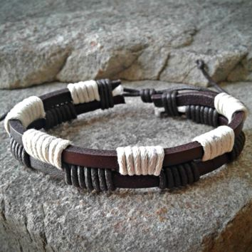 Dark Brown and White Leather Wrapped Adjustable Unisex Leather Weave Wrap Bracelets