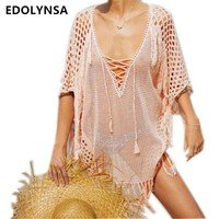 ONETOW New Arrivals Sexy Beach Cover up Pink Crochet Robe de Plage Pareos for Women Swim Wear Saida de Praia Beachwear Coverups  #Q195