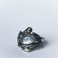 Moonstone twig ring in black sterling silver, size 5.5