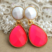 Neon Pink Rhinestone Dangle earrings - 14k Plated Gold post earrings neon pink and White.