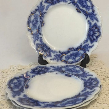 3 W H Grindley Alaska Flow Blue Salad Plates with Gold Trim, Instant Collection 1890's Blue & White Plates, Victorian Tableware, Home Decor