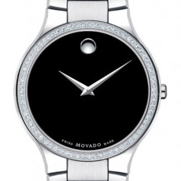 Movado Serio Men's Black Museum Dial Diamond Bezel 38mm Stainless Steel Watch 0606384
