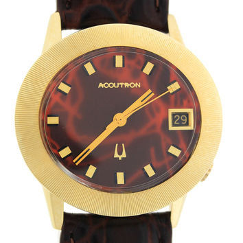 RARE Bulova Accutron Solid 14k Yellow Gold Red Dial 37mm Watch 41311