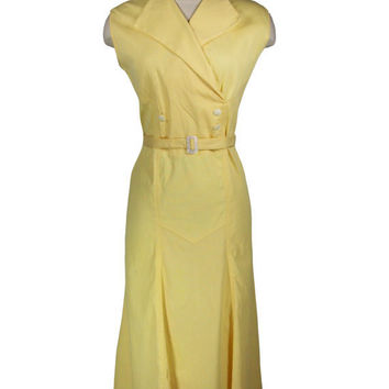 Vintage 1930s Dress / Sunny Yellow Cotton Sailorette by FrocknRock