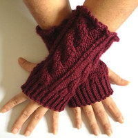 Fingerless Gloves Wrist Warmers in Burgundy Cable Handknit