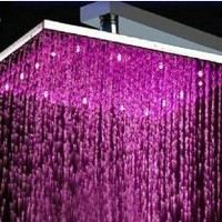 "16"" Water Power Big Stainless Steel Square 3 Color LED Temperature Sensitive Rainfall Shower Head ,Chrome Finish Ys-1733"