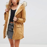 Pimkie Zip Detail Parka With Faux Fur Hood at asos.com