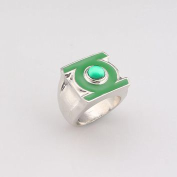 Green Enamel Rhinestone Big Chunky Superhero Green Lantern Ring Free Size Movie Jewelry