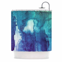"Malia Shields ""Blues Abstract Series 1"" Green Teal Shower Curtain"