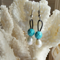 Freshwater Pearl, Genuine Turquoise and Leather drop earrings.