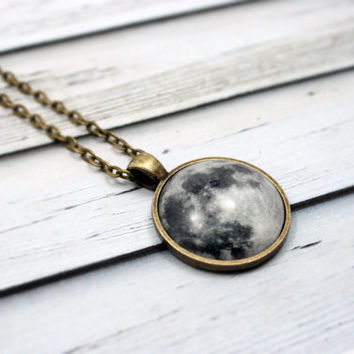 Full Moon Necklace, Lunar Necklace, Galaxy Jewelry, Planetarium Necklace, Nebula Necklace
