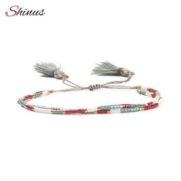 Shinus MIYUKI Bracelets Boho Bracelet Women Beautiful Pulseras Tassel Delicas Beads Friendship Handmade Colorful Jewelry Gift