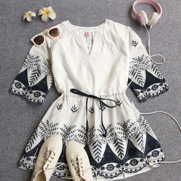 White and Blue Patterned Boho Dress