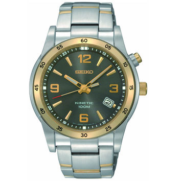 Seiko SKA508 Men's Kinetic Charcoal Dial Gold Tone Bezel Two Tone Bracelet Watch