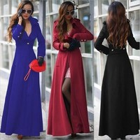 2015 Winter New High-end Woolen Cashmere X-Long Trench Coat for Women Winter Coats Women's Cashmere Coat Manteau Femme Long Trench [8833970316]