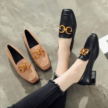 Women All-match Fashion Double G Buckle Square-toe Chunky Low Heel Loafer Leather Flats Shoes