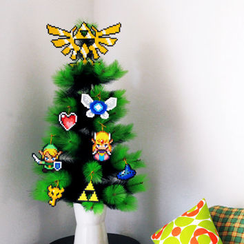 Legend of Zelda Inspired Christmas Tree Decoration Set . 7 Christmas Ornaments + Hyrule Crest Tree Topper