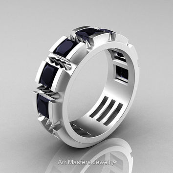 Mens Avant Garde 14K Matte White Gold Princess Black Diamond Channel Cluster Thorn Wedding Ring R574-14KMWGBD