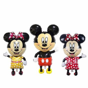LMFONHS 110*64cm Red Bowknot Mickey Minnie Foil Balloons Classic kids Toys Birthday Party Supplies Big Size Mickey balloons