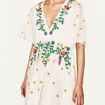 White V-neck Embroidery Floral Mini Dress
