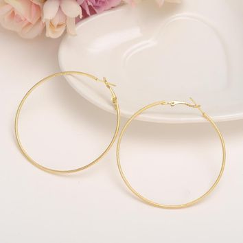 Bangrui Hot New 60mm Big Round Earrings Women Mother Gold Color Fashion Jewelry Bijoux Accessory Birthday Gift