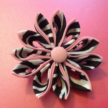 Kanzashi Flower hair accessory bow clip barrette headband crochet wrap black white light pink zebra