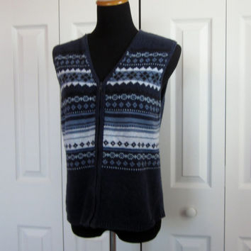 Vintage Blue Fair Isle Sweater Vest, Zipper Front Vest, Womens Large Sleeveless Cardigan Sweater, Blue Knit Vest