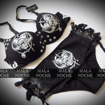 Bra Motorhead, Motorhead clothing, dark lingerie, goth, metal lingerie, rock clothing (panty sold separately)