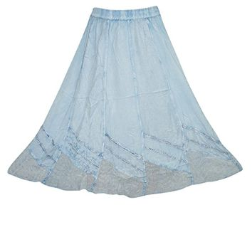 Womens Skirt Sky Blue Long Hippie Bohemian Maxi Skirts L