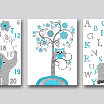 Gray Turquoise Elephant Nursery Giraffe Nursery Baby Room Decor Baby Nursery Decor Baby Boy Nursery Kids Wall Art Kids Art set of 3