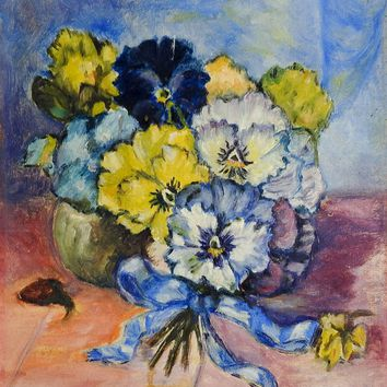 Vintage Pansy Still Life Painting