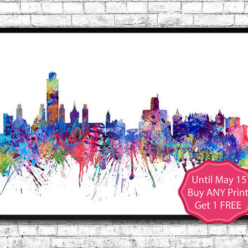 Albany New York  Watercolor Print City Skyline Los Angeles Poster City Watercolor City Silhouette Wall Hanging Home Decor Giclee wall art