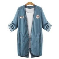 Better Vibes Patched Denim Plus Size Jacket